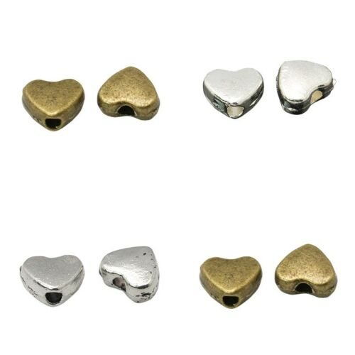 ❤ 30 x Plated HEART SPACER Beads 6mm CHOOSE COLOUR Jewellery Making UK Stock ❤