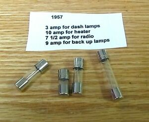 1957 chevy fuse panel glass fuse set correct sizes ebay rh ebay com 1957 chevy bel air fuse box location