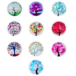 10-Glas-Cabochons-Perlen-zum-Kleben-Lebensbaum-Muster-20mm-Dia