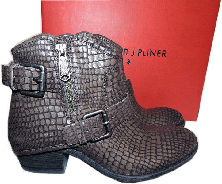 $348 Donald Pliner Ankle Riding Charcoal Dalis Vintage Python Boots 6 Booties