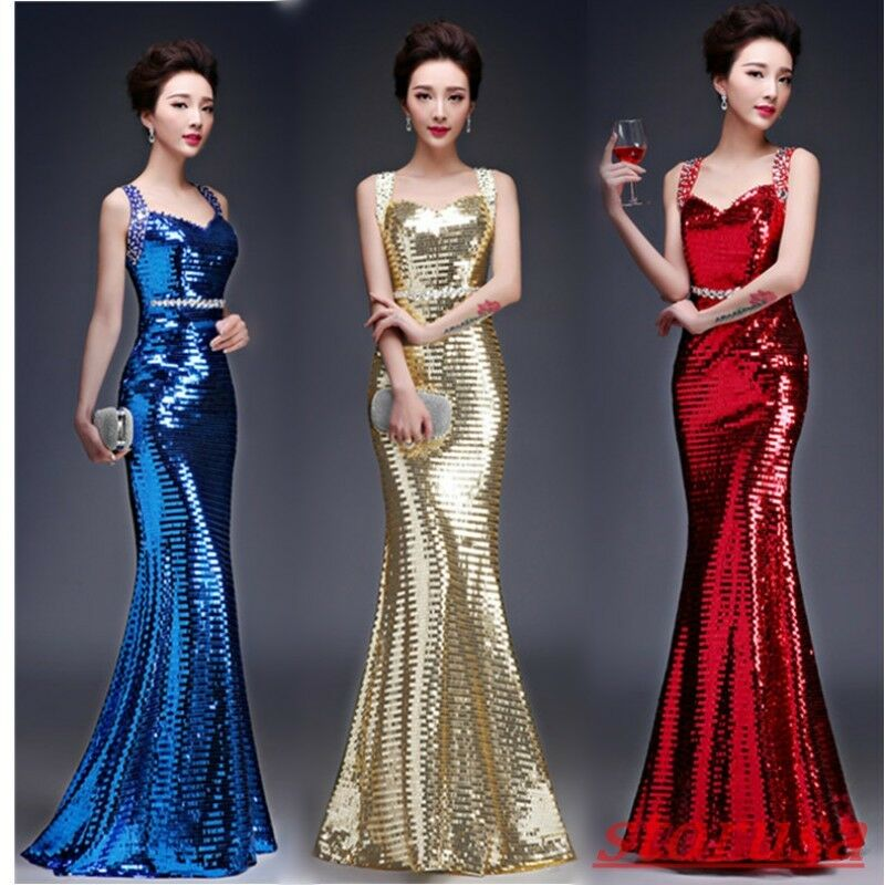 Ladies Mermaid dress Glitter Sequins Evening Prom Party Dress Ball Gown Sleevele