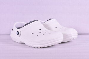 Unisex-Crocs-Classic-Lined-Roomy-Fit-Clogs-White-w-Grey-Lining