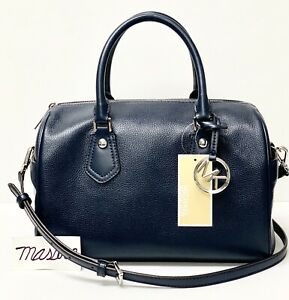 MK-Michael-Kors-Aria-Pebble-Leather-Convertible-Satchel-Bag-Navy-MSRP-298