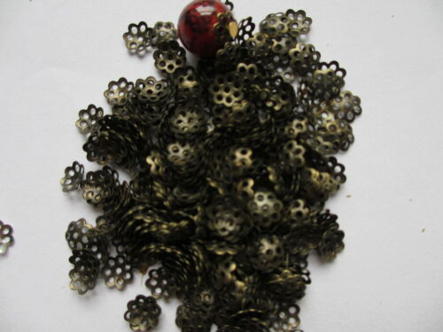 100//200//500 Silver /& Antique Gold Plated Filigree Flower Beads Caps 6mm