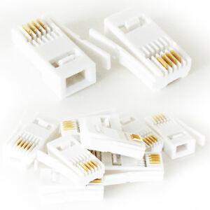 Superb 10X Bt Telephone 431A Crimp Connectors Plugs Ends Jacks For Phone Wiring Cloud Hisonuggs Outletorg