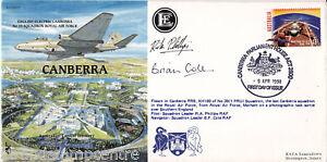 Amical 1998 Australie-raf (p&p) 5 (canberra) Housse-signé Sqd Ldr's Phillips & Cole-afficher Le Titre D'origine