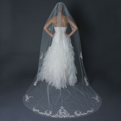 Ivory Embroidered Floral Beaded Single Layer Cathedral Bridal Wedding Veil