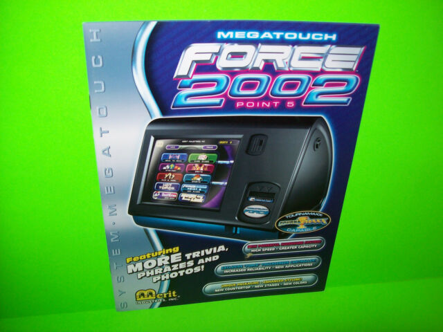MEGATOUCH FORCE 2002 By MERIT ORIGINAL VIDEO ARCADE GAME SALES FLYER BROCHURE