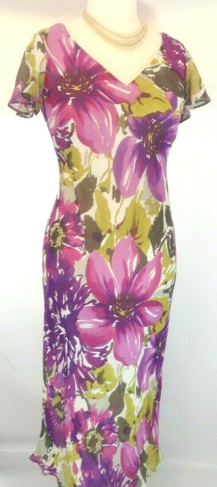 New Alex & Co dress Chiffon Purple Pink Olive floral print summer scarf rrp
