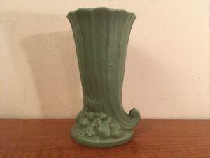 Antique / Vintage Matt Green Nelson Brush McCoy Art Pottery Cornucopia Vase