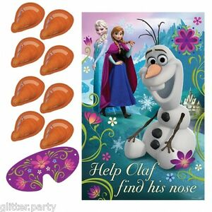 Disney-Frozen-pin-le-nez-a-l-OLAF-party-game-comme-pin-la-queue-sur-ane-banniere