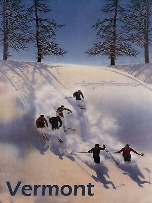VERMONT Vacation Ski Winter Sport Mountain Trail Vintage Poster Repo FREE S/H