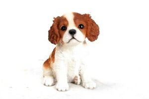 Sitting CAVALIER KING CHARLES Puppy Dog Realistic Life Like Statue Home Decor