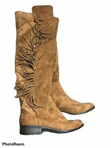 """1"""" heel knee high winter fall boots fringe suede tan size"""