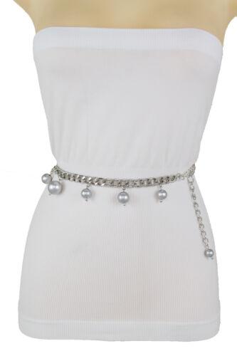 Women Hip High Waist Silver Metal Chain Link Narrow Belt Bling Beads Size XS S M