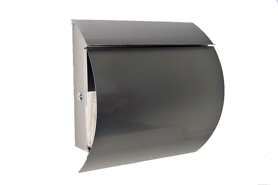 Designer Briefkasten Edelstahl   mit Zeitungsfach   Modell 888   NEU