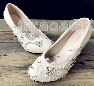 040d7459f9433b Lace white ivory crystal Wedding shoes Bridal flats low high heel ...