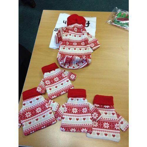 Noël Pull porte bouteille ou couverts détenteurs rouge//blanc Fairisle GRATUITE PP