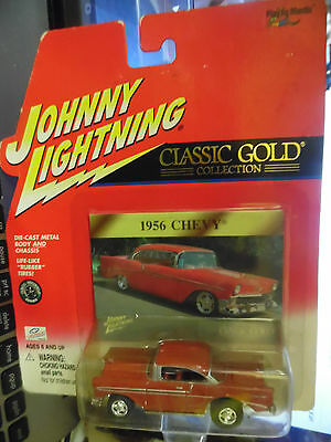 1956 CHEVY BEL AIR RR TIRES CLASSIC GOLD 404-08 JOHNNY LIGHTNING 1/64 JL VV