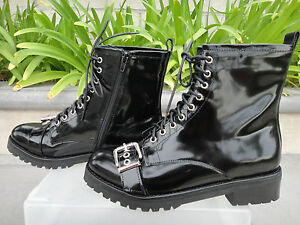 Jeffrey-Campbell-SLAM-BUCKLE-STRAP-MILITARY-Boots-Black-Leather-Upper-Size-US9M