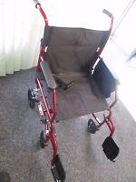Medline Transport Wheelchair Lightweight W/ Hand Brakes - Burgundy- El 2903