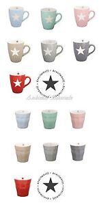 KRASILNIKOFF-Tasse-Becher-Latte-Cup-STERN-beige-hell-grau-rot-rosa-blau-mint