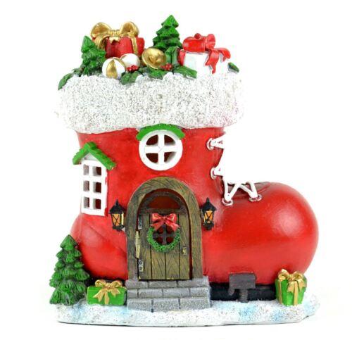Fairy Garden Fun Dollhouse Christmas Red Santa Boot House LED Lighted