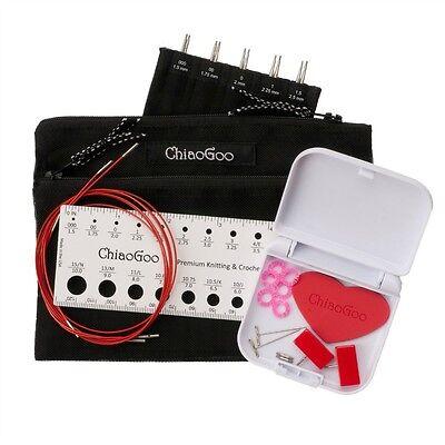 """New ChiaoGoo MINI TWIST 4"""" (20 cm) Red Lace (US 000 - US 1.5) IC Knitting Set"""