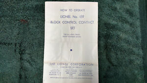 LIONEL-159-BLOCK-CONTROL-CONTACT-SET-INSTRUCTIONS-PHOTOCOPY