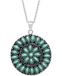 R.H. MACY & CO Sterling Silver, Manufactured Turquoise ...