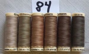 3 different Brown colors GUTERMANN 100/% polyester thread 110 yards each spool