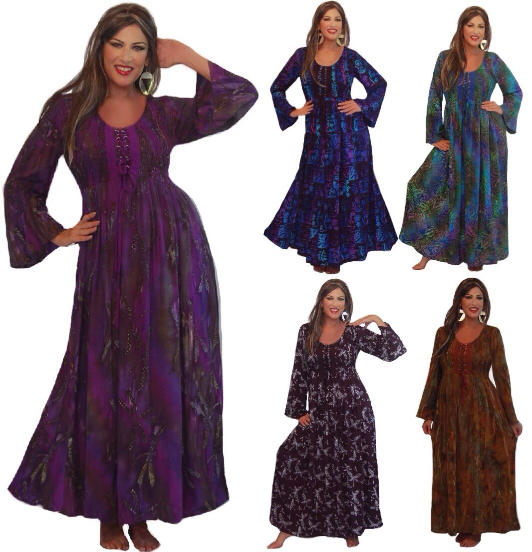 Maxi dress smocked lacing long sleeve M L XL 1X 2X 3X 4X 5X 6X PLUS BOHO GYPSY