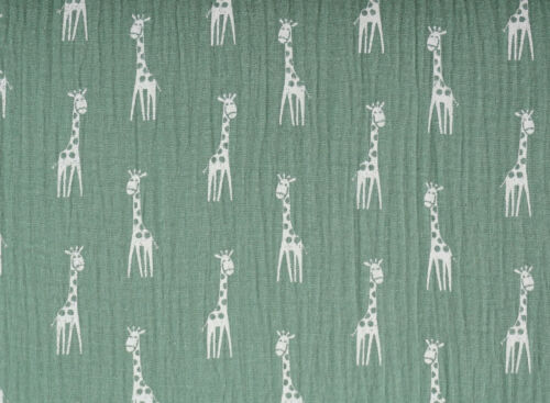 Hochwertiger Musselin Stoff gemustert Giraffen ghostgreen 135 g//m²