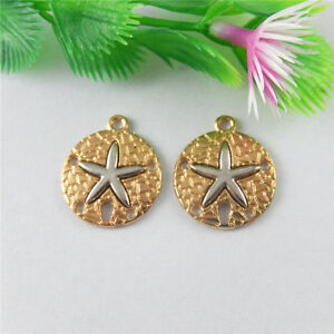 HOT-NEW-10-pcs-Rose-Gold-Tone-Alloy-Sand-Dollar-Charms-Pendant-Charms-23-20-2mm