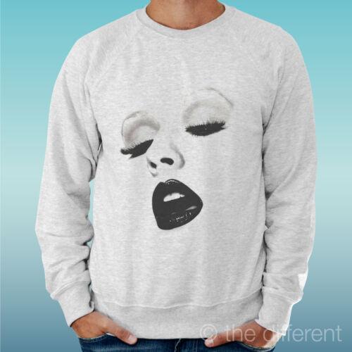 Men/'s Sweatshirt Light Sweater Light Grey Grey Christina Aguilera Lips Lips