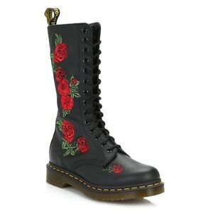4cf19cd6653 Dr. Martens Vonda Womens Black Leather Embroidered Rose Mid Calf ...
