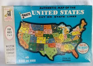 Vintage Milton Bradley Map Puzzle United States World Dissected ...