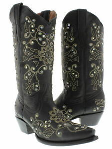 Womens Blue Leather Western Cowboy Boots Black Butterfly Inlay Botas Snip Toe