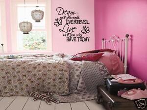 dream live girls teen bedroom vinyl wall art decal ebay rh ebay co uk teenage girl bedroom wall art