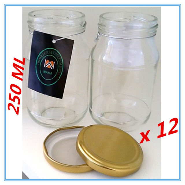 12 x Dessert Pudding/Lolly/Candy JAM Glass Jar w/h RUBBER SEAL GOLD LID 250 ml A