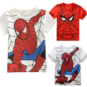 Kids-Boys-Short-Sleeve-T-shirt-Spiderman-Costume-Summer-Tops-Tee-Outfits-Clothes