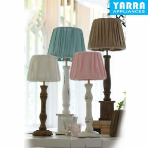 2f0acda70890 Table Lamp Shade Bedside light Wood Pink Brown White Base Vintage ...