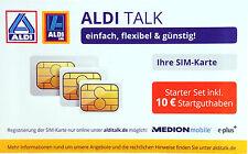 ALDI TALK Starter-Set Triple SIM-Karte mit 10 € Startguthaben Prepaid E-Plus