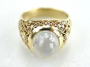 Schoener-585er-Gold-Ring-Mondstein-14-Karat-Brillant-13-68-Gramm-Gr-60
