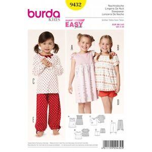 9272125bb3 Image is loading Burda-Kids-Girls-Sleepwear-PJs-Fabric-Sewing-Pattern-