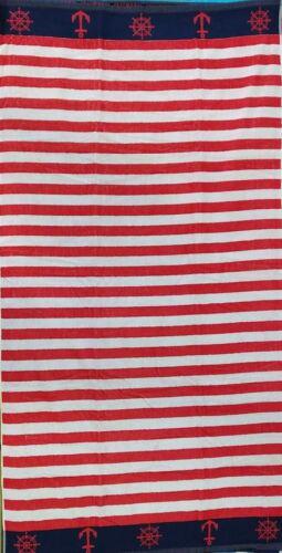 Navy Red Stripe Aeronautical Jumbo Beach rouge 100/% Egyptian Cotton 90 cm x 170 cm