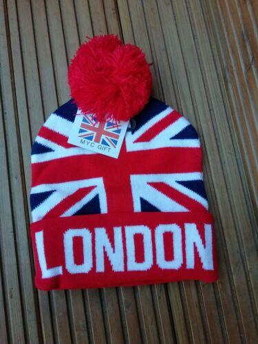 Union jack Beanie  British Flag pom pom Design Knitted Winter Ski Hats.