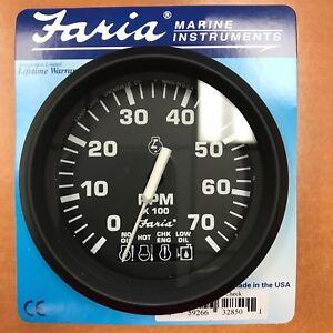 """TACHOMETER OMC 7000 RPM SYSTEM CHECK 678-32850 4"""" FARIA ..."""