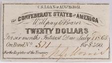 Civil War Confederate $500 Bond C.S. Loan 1861 $20 Coupon Richmond VA #371