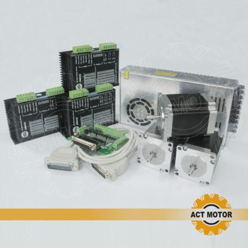 ACT MOTOR GmbH 3Axis Nema23 CNC Kit 23HS8430 3A 1.9Nm φ 6.35mm+DM542 Driver+PSU